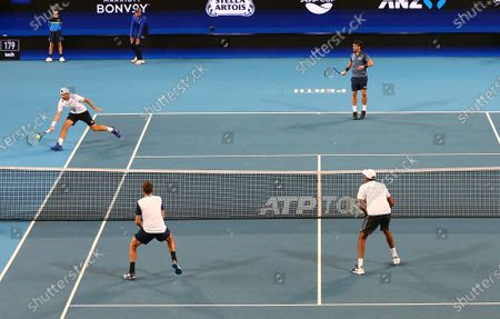 Stock Picture of Rajeev Ram and Austin Krajicek (front) of the USA compete in the doubles match against Fabio Fognini and Simone Bolelli of Italy on day 5 of the ATP Cup tennis tournament at RAC Arena in Perth, Australia, 07 January 2020.