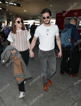 Editorial picture of Rose Leslie and Kit Harington at Los Angeles International Airport, USA - 06 Jan 2020