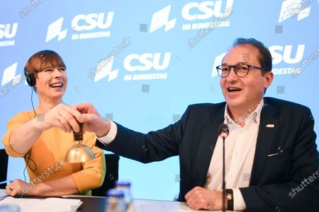 Christian Social Union (CSU) regional group chairman in the German parliament Bundestag Alexander Dobrindt and Estonian President Kersti Kaljulaid open the day's session during the annual Christian Social Union (CSU) party meeting at Kloster Seeon (Seeon Abbey), in Seeon, Germany, 07 January 2020. The closed door meeting of the CSU state parliamentary group will be held in the educational institution of former Benedictine monastery Seeon Abbey from 06 to 08 January 2020