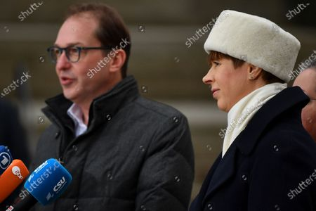 Christian Social Union (CSU) regional group chairman in the German parliament Bundestag Alexander Dobrindt and Estonian President Kersti Kaljulaid deliver a press statement during the annual Christian Social Union (CSU) party meeting at Kloster Seeon (Seeon Abbey), in Seeon, Germany, 07 January 2020. The closed door meeting of the CSU state parliamentary group will be held in the educational institution of former Benedictine monastery Seeon Abbey from 06 to 08 January 2020