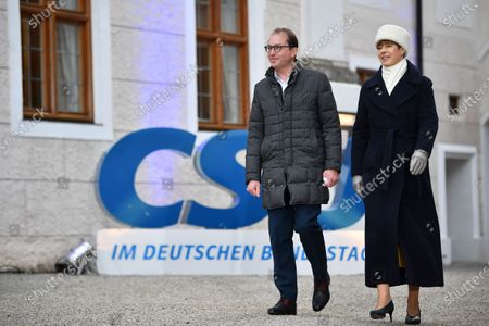 Christian Social Union (CSU) regional group chairman in the German parliament Bundestag Alexander Dobrindt and Estonian President Kersti Kaljulaid arrive for a press statement during the annual Christian Social Union (CSU) party meeting at Kloster Seeon (Seeon Abbey), in Seeon, Germany, 07 January 2020. The closed door meeting of the CSU state parliamentary group will be held in the educational institution of former Benedictine monastery Seeon Abbey from 06 to 08 January 2020