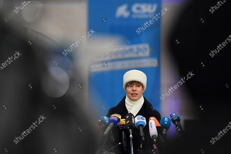 Estonian President Kersti Kaljulaid delivers a press statement during the annual Christian Social Union (CSU) party meeting at Kloster Seeon (Seeon Abbey), in Seeon, Germany, 07 January 2020. The closed door meeting of the CSU state parliamentary group will be held in the educational institution of former Benedictine monastery Seeon Abbey from 06 to 08 January 2020