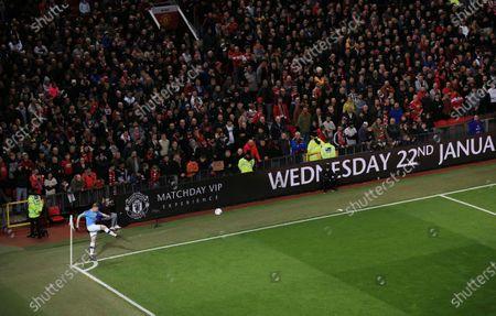 Kevin De Bruyne of Manchester City takes a corner kick