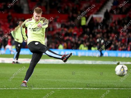 Kevin De Bruyne of Manchester City during the warm up