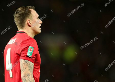 Phil Jones of Manchester United with his Carabao branded sleeve badge