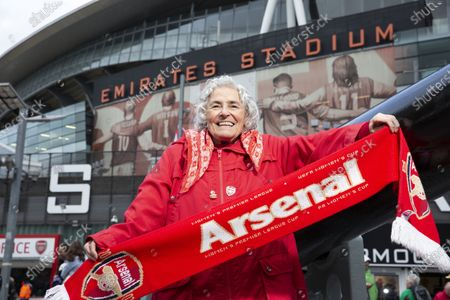 Editorial picture of Maria Petri, 80 year old Arsenal supporter, Emirates, London, UK - 02 Nov 2019