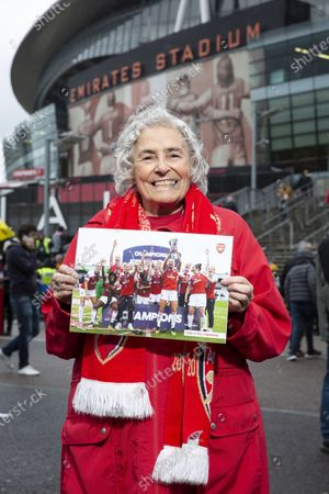 Editorial photo of Maria Petri, 80 year old Arsenal supporter, Emirates, London, UK - 02 Nov 2019
