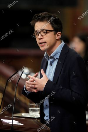 Leader of Spanish left wing Mas Pais (lit. More Country), Inigo Errejon, delivers a speech at the second investiture voting at the Lower House in Madrid, Spain, 07 January 2020. The Spanish Parliament holds the second investiture voting at Parliament in which acting Prime Minister Pedro Sanchez is expected to win by a tight majority.