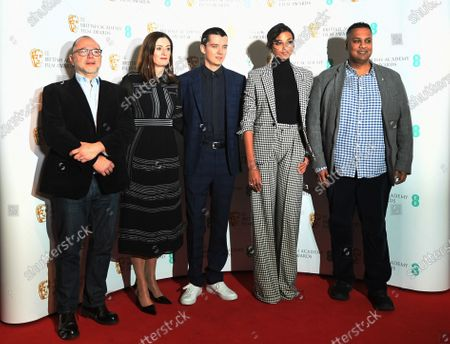 British Academy Of Film And Television Arts (BAFTA) Chair of the film committee Marc Samuelson, BAFTA CEO Amanda Berry, British actor Asa Butterfield, British actress Ella Balinska and BAFTA Deputy Chair Krishnedu Majumdar pose for photographers during the EE British Academy Film Awards nominations photocall in London, Britain, 07 January 2020. The 73rd British Academy Film Awards (BAFTA) gala will be held at London's Royal Albert Hall on 02 February.