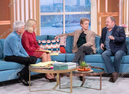 Phillip Schofield and Holly Willoughby with Freddie Fox and Mark Addy