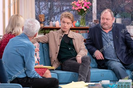Stock Image of Phillip Schofield and Holly Willoughby with Freddie Fox and Mark Addy