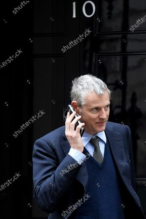 Zac Goldsmith, Minister of State for the Environment and International Development, leaves N0.10 Downing Street after attending a Cabinet Meeting.