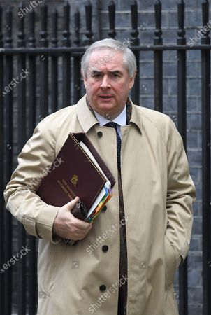 Geoffrey Cox, Attorney General, leaves N0.10 Downing Street after attending a Cabinet Meeting.