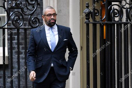 James Cleverly, Conservative Party Chairman, leaves N0.10 Downing Street after attending a Cabinet Meeting.