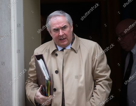 Geoffrey Cox, Attorney General, leaves the Cabinet meeting