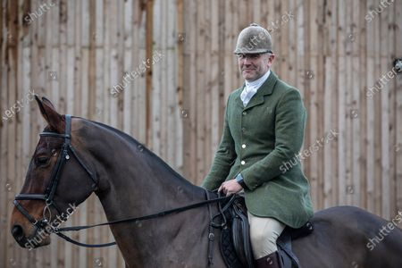Ivan Massow, master of the Southdown and Eridge Hunt, photographed on a weekend meet at Halisham, East Sussex, United Kingdom