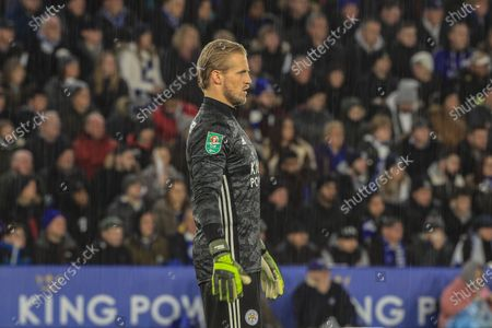 8th January 2020, King Power Stadium, Leicester, England; Carabao Cup, Semi-final,  Leicester City v Aston Villa : Kasper Schmeichel (1) of Leicester City during the game Credit: Mark Cosgrove/News Images