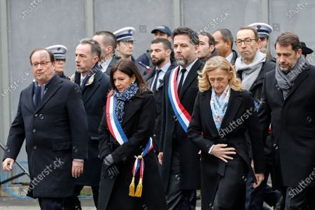 Former French President Francois Hollande (L), Mayor of Paris Anne Hidalgo, French Justice Minister Nicole Belloubet, French Interior Minister Christophe Castaner arrive 07 January 2020 in Paris, France, at the site where French police officer Ahmed Merabet was killed by jihadist terrorists the same day of the attack of the satirical magazine Charlie Hebdo that killed 12 people, five years ago. The attack on the satirical magazine Charlie Hebdo   with its long history of mocking Islam and other religions was the first in a series of assaults that have claimed more than 250 lives since 07 January 2015, mostly at the hands of young French-born jihadists.