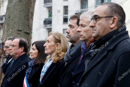 (RtoL) French Junior Interior Minister Laurent Nunez, French Culture Minister Franck Riester, French Interior Minister Christophe Castaner, French Justice Minister Nicole Belloubet, Mayor of Paris Anne Hidalgo and former French President Francois Hollande attend a commemoration ceremony 07 January 2020 in Paris, France, at the site where French police officer Ahmed Merabet was killed by jihadist terrorists the same day of the attack of the satirical magazine Charlie Hebdo that killed 12 people, five years ago. The attack on the satirical magazine Charlie Hebdo   with its long history of mocking Islam and other religions was the first in a series of assaults that have claimed more than 250 lives since 07 January 2015, mostly at the hands of young French-born jihadists.
