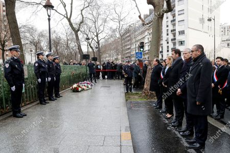 (RtoL) French Junior Interior Minister Laurent Nunez, French Culture Minister Franck Riester, French Interior Minister Christophe Castaner, French Justice Minister Nicole Belloubet, Mayor of Paris Anne Hidalgo and former French President Francois Hollande attend a commemoration ceremony 07 January 2020 in Paris, France, in tribute to French police officer Ahmed Merabet who was killed by jihadist terrorists the same day of the attack of the satirical magazine Charlie Hebdo that killed 12 people, five years ago. The attack on the satirical magazine Charlie Hebdo   with its long history of mocking Islam and other religions was the first in a series of assaults that have claimed more than 250 lives since 07 January 2015, mostly at the hands of young French-born jihadists.