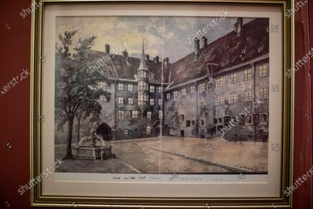Stock Image of Framed original painting by Adolf Hitler hanging on the wall at Sir Benjamin Slade (72)