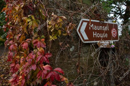 Sign post to the estate belonging to Sir Benjamin Slade (72) Millionaire aristocrat and Brexiteer on his 2,000-acre Maunsel House estate, North Newton