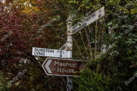 Sign posts to the estate of Sir Benjamin Slade (72) Millionaire aristocrat and Brexiteer on his 2,000-acre Maunsel House estate, North Newton