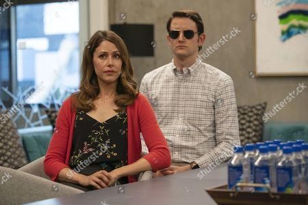 Amanda Crew as Monica Hall and Zach Woods as Donald 'Jared' Dunn