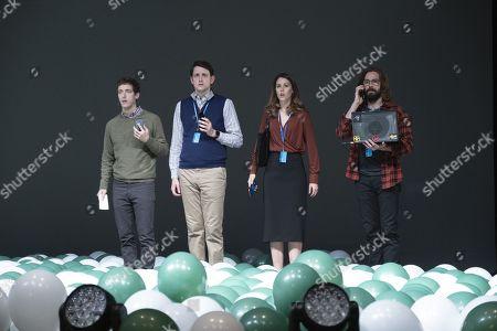 Thomas Middleditch as Richard Hendricks, Zach Woods as Donald 'Jared' Dunn, Amanda Crew as Monica Hall and Martin Starr as Bertram Gilfoyle