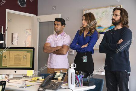Kumail Nanjiani as Dinesh Chugtai, Amanda Crew as Monica Hall and Martin Starr as Bertram Gilfoyle