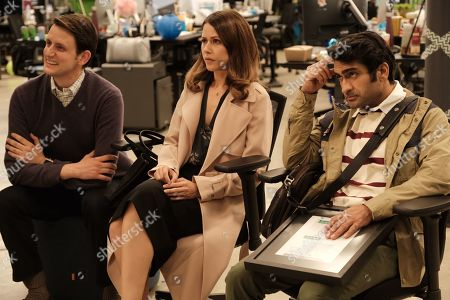 Zach Woods as Donald 'Jared' Dunn, Amanda Crew as Monica Hall and Kumail Nanjiani as Dinesh Chugtai