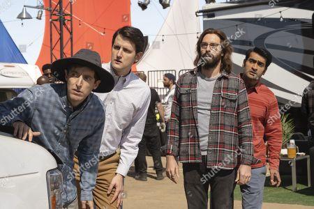 Thomas Middleditch as Richard Hendricks, Zach Woods as Donald 'Jared' Dunn, Martin Starr as Bertram Gilfoyle and Kumail Nanjiani as Dinesh Chugtai