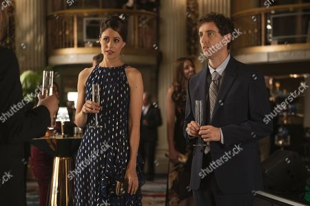 Amanda Crew as Monica Hall and Thomas Middleditch as Richard Hendricks