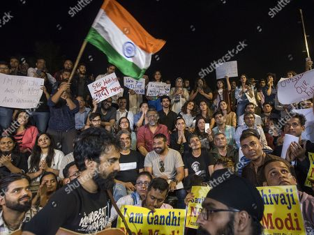Stock Picture of Bollywood filmmakers Anubhav Sinha, Zoya Akhtar, Vishal Bhardwaj, Anurag Kashyap, actress Taapsee Pannu and others participate in a peaceful protest against the attack on New Delhi's Jawaharlal Nehru University campus, at Carter Road, on January 6, 2020 in Mumbai, India.
