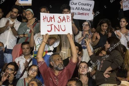 Bollywood filmmakers Anubhav Sinha, Zoya Akhtar, actress Dia Mirza and others participate in a peaceful protest against the attack on New Delhi's Jawaharlal Nehru University campus, at Carter Road, on January 6, 2020 in Mumbai, India.
