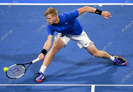 Stock Picture of Kyle Edmund of Britain returns the ball during the first round match