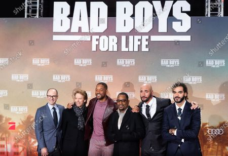 Doug Belgrad, producer Jerry Bruckheimer, US actors Will Smith and Martin Lawrence, directors Adil El Arbi and Bilall Fallah pose on the red carpet during the German premiere of the movie 'Bad Boys for Life' in Berlin, Germany, 07 January 2020. The film is scheduled to be released on 16 January across Germany.