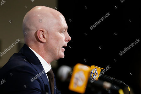 Stock Picture of New Nashville Predators NHL hockey head coach John Hynes answers questions at a news conference, in Nashville, Tenn. The Predators hired Hynes, the former New Jersey Devils coach, as the third coach in franchise history after firing Peter Laviolette