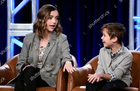 "Ashley Boettcher, Jack Stanton. Ashley Boettcher, left, and Jack Stanton, cast members in the television series ""Outmatched,"" take part in a panel discussion during the 2020 FOX Television Critics Association Winter Press Tour, in Pasadena, Calif"