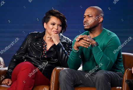 """Finesse Mitchell, Tisha Campbell. Finesse Mitchell, right, and Tisha Campbell, cast members in the television series """"Outmatched,"""" take part in a panel discussion during the 2020 FOX Television Critics Association Winter Press Tour, in Pasadena, Calif"""