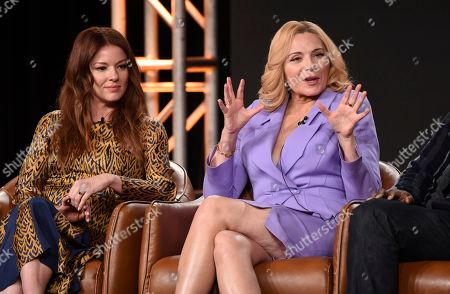 """Kim Cattrall, Aubrey Dollar. Kim Cattrall, a cast member in the television series """"Filthy Rich,"""" answers a question as fellow cast member Aubrey Dollar looks on during the 2020 FOX Television Critics Association Winter Press Tour, in Pasadena, Calif"""