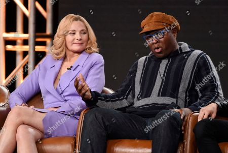 """Steve Harris, Kim Cattrall. Steve Harris, right, a cast member in the television series """"Filthy Rich,"""" answers a question as fellow cast member Kim Cattrall looks on during the 2020 FOX Television Critics Association Winter Press Tour, in Pasadena, Calif"""