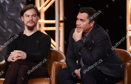 "Stock Picture of Tate Taylor, Mark Young. Tate Taylor, right, creator/writer/director/executive producer of the television series ""Filthy Rich,"" answers a question as cast member Mark Young looks on during the 2020 FOX Television Critics Association Winter Press Tour, in Pasadena, Calif"