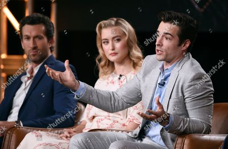 """Corey Cott, Aaron Lazar, Olivia Macklin. Corey Cott, right, a cast member in the television series """"Filthy Rich,"""" answers a question as fellow cast members Aaron Lazar, far left, and Olivia Macklin look on during the 2020 FOX Television Critics Association Winter Press Tour, in Pasadena, Calif"""