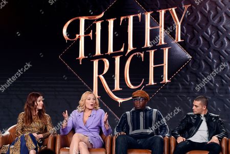 """Aubrey Dollar, Kim Cattrall, Steve Harris, Benjamin Levy Aguilar. Aubrey Dollar, from left, Kim Cattrall, Steve Harris and Benjamin Levy Aguilar, cast members in the television series """"Filthy Rich,"""" take part in a panel discussion on the show during the 2020 FOX Television Critics Association Winter Press Tour, in Pasadena, Calif"""
