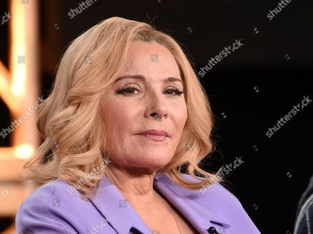 """Kim Cattrall. Kim Cattral, a cast member in the television series """"Filthy Rich,"""" takes part in a panel discussion during the 2020 FOX Television Critics Association Winter Press Tour, in Pasadena, Calif"""