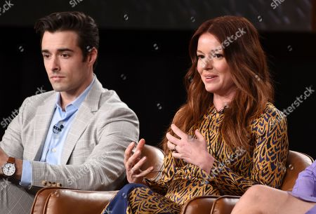 """Aubrey Dollar, Corey Cott. Aubrey Dollar, right, and Corey Cottonmouths, cast members in the television series """"Filthy Rich,"""" take part in a panel discussion during the 2020 FOX Television Critics Association Winter Press Tour, in Pasadena, Calif"""