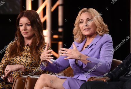 """Kim Cattrall, Aubrey Dollar. Kim Cattrall, right, and Aubrey Dollar, cast members in the television series """"Filthy Rich,"""" take part in a panel discussion during the 2020 FOX Television Critics Association Winter Press Tour, in Pasadena, Calif"""