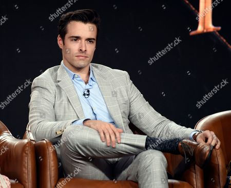 """Corey Cott, a cast member in the television series """"Filthy Rich,"""" takes part in a panel discussion during the 2020 FOX Television Critics Association Winter Press Tour, in Pasadena, Calif"""