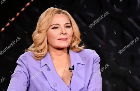 """Kim Cattrall, a cast member in the television series """"Filthy Rich,"""" takes part in a panel discussion during the 2020 FOX Television Critics Association Winter Press Tour, in Pasadena, Calif"""